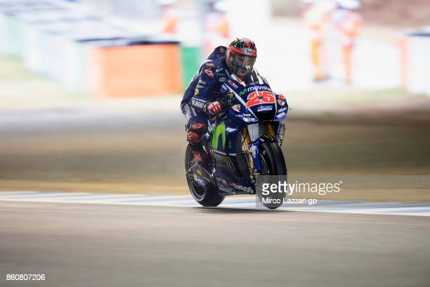 Maverick Vinales of Spain and Movistar Yamaha MotoGP heads down a straight during the MotoGP of Japan Free Practice at Twin Ring Motegi on October 13...