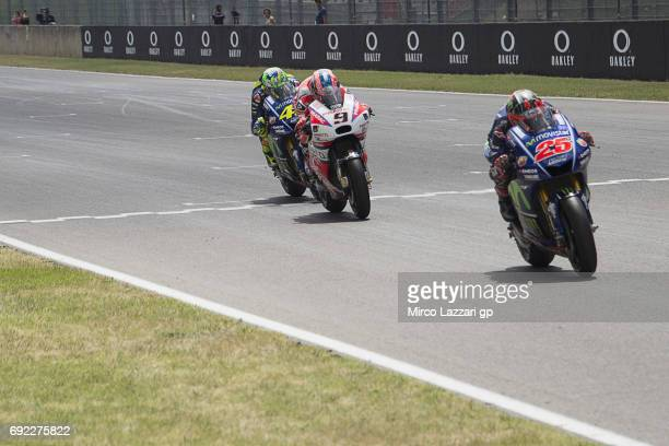 Maverick Vinales of Spain and Movistar Yamaha MotoGP leads the field during the MotoGP race during the MotoGp of Italy Race at Mugello Circuit on...