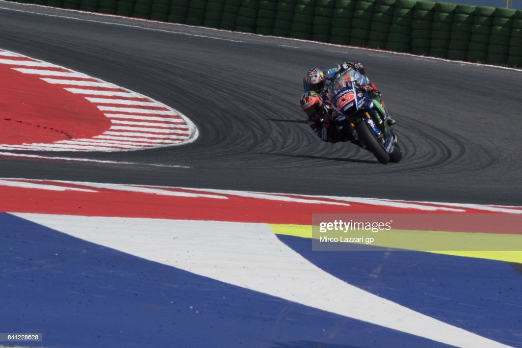 Maverick Vinales of Spain and Movistar Yamaha MotoGP leads the field during the MotoGP of San Marino - Free Practice at Misano World Circuit on September 8, 2017 in Misano Adriatico, Italy.