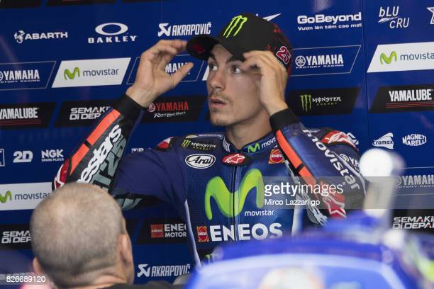 Maverick Vinales of Spain and Movistar Yamaha MotoGP looks on in box during the MotoGp of Czech Republic Qualifying at Brno Circuit on August 5 2017...
