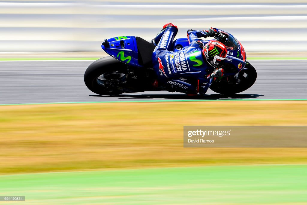 Maverick Vinales of Spain and Movistar Yamaha MotoGP rides during a free practice session ahead of the qualifying at Circuit de Catalunya on June 10, 2017 in Montmelo, Spain.