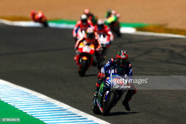 Maverick Vinales of Spain and Movistar Yamaha MotoGP rides during final practice for the MotoGP of Spain at Circuito de Jerez on May 6 2017 in Jerez...
