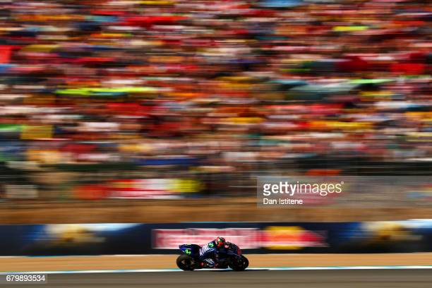 Maverick Vinales of Spain and Movistar Yamaha MotoGP rides during warmup for the MotoGP of Spain at Circuito de Jerez on May 7 2017 in Jerez de la...