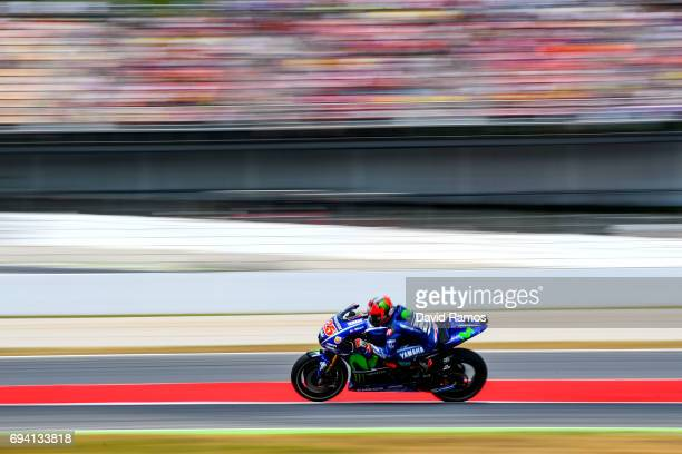 Maverick Vinales of Spain and Movistar Yamaha MotoGP rides during free practice for the MotoGP of Catalunya at Circuit de Catalunya on June 9 2017 in...