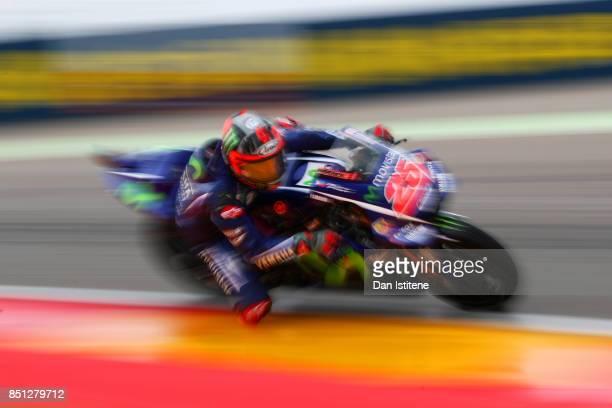 Maverick Vinales of Spain and Movistar Yamaha MotoGP rides during practice for the MotoGP of Aragon at Motorland Aragon Circuit on September 22 2017...