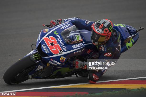 Maverick Vinales of Spain and Movistar Yamaha MotoGP rounds the bend during the MotoGp of Germany Free Practice at Sachsenring Circuit on June 30...