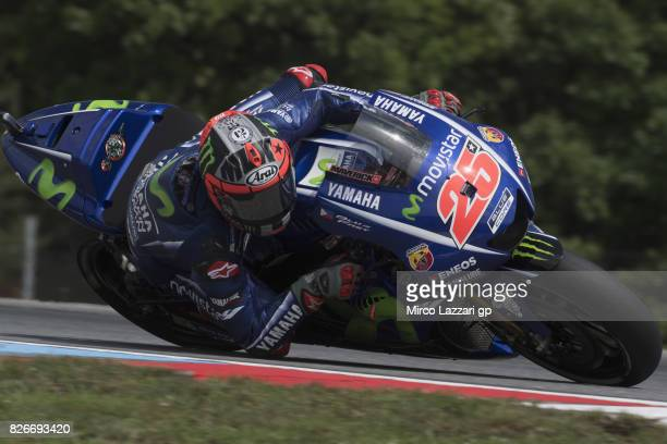 Maverick Vinales of Spain and Movistar Yamaha MotoGP rounds the bend during the MotoGp of Czech Republic Qualifying at Brno Circuit on August 5 2017...
