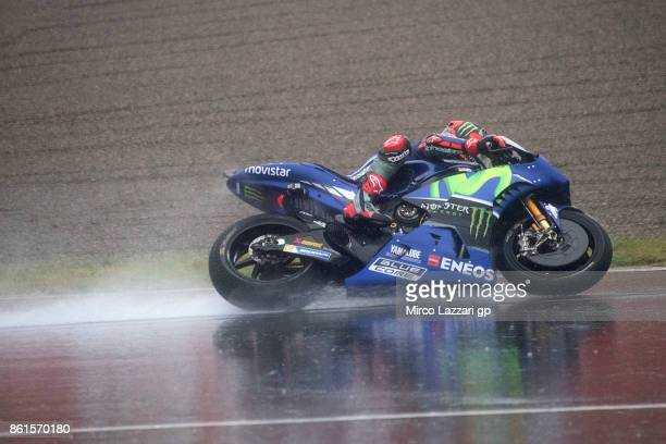 Maverick Vinales of Spain and Movistar Yamaha MotoGP rounds the bend during the MotoGP race during the MotoGP of Japan Race at Twin Ring Motegi on...