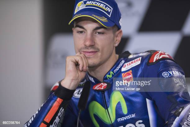 Maverick Vinales of Spain and Movistar Yamaha MotoGP smiles during the press conference at the end of the MotoGP race during the MotoGp of Italy Race...