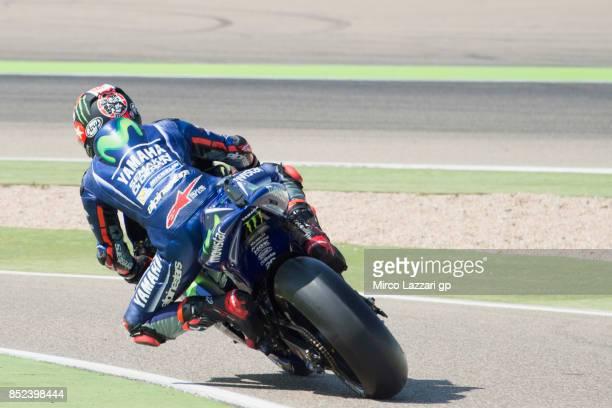 Maverick Vinales of Spain and Movistar Yamaha MotoGP starts from box during the qualifying practice during the MotoGP of Aragon Qualifying at...