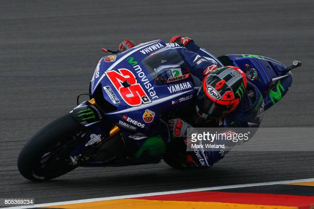 Maverick Vinales of Spain and Movistar Yamaha Team rides in qualifying during the MotoGP of Germany at Sachsenring Circuit on July 1 2017 in...