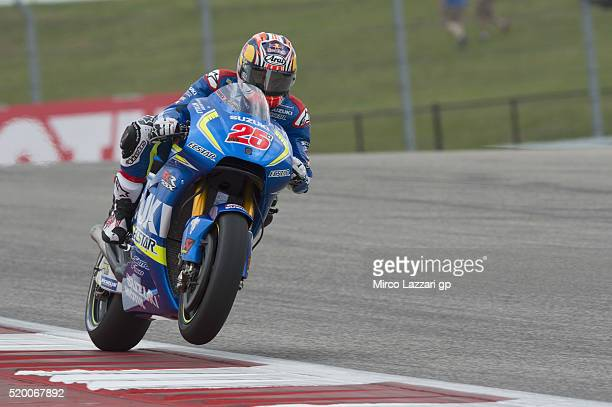 Maverick Vinales of Spain and Team Suzuki ECSTAR heads down a straight during the MotoGp Red Bull US Grand Prix of The Americas Qualifying at Circuit...