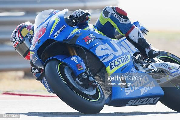 Maverick Vinales of Spain and Team Suzuki ECSTAR heads down a straight during the qualifying practice during the MotoGP of Spain Qualifying at...