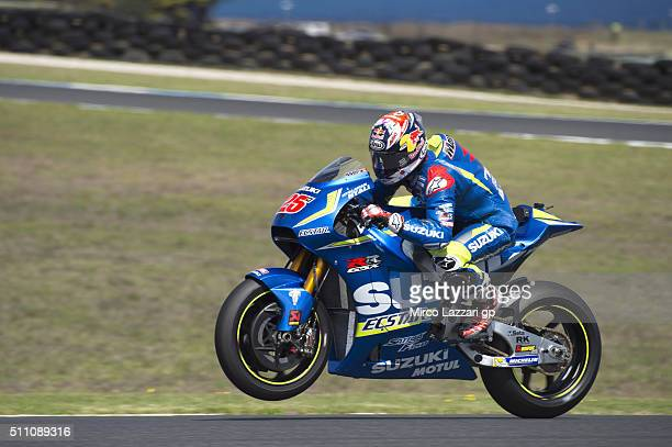 Maverick Vinales of Spain and Team Suzuki ECSTAR lifts the front wheel during the 2016 MotoGP Test Day at Phillip Island Grand Prix Circuit on...