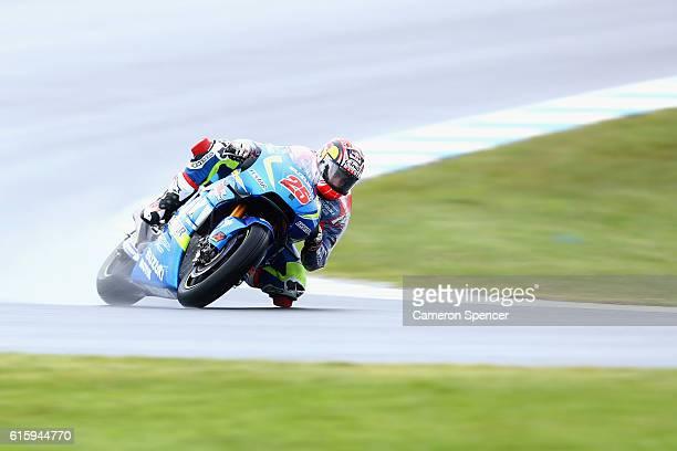 Maverick Vinales of Spain and Team Suzuki Ecstar rides during free practice for the 2016 MotoGP of Australia at Phillip Island Grand Prix Circuit on...