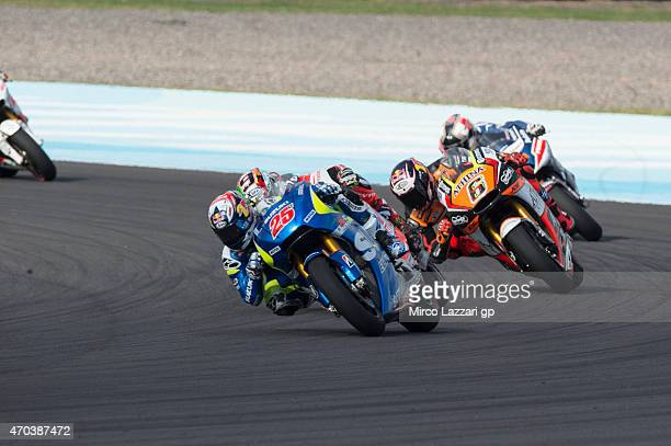 Maverick Vinales of Spain and Team Suzuki MotoGP leads the field during the MotoGP race during the MotoGp of Argentina Race at on April 19 2015 in...