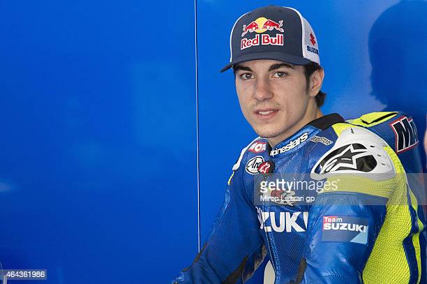 Maverick Vinales of Spain and Team Suzuki MotoGP looks on in the box during day three of the Sepang MotoGP Tests at Sepang Circuit on February 25...