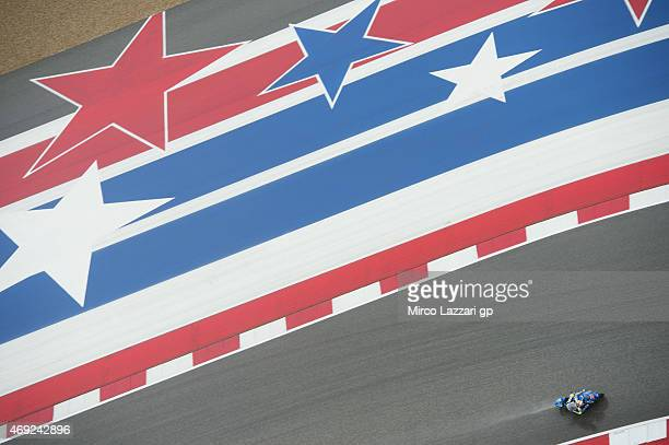 Maverick Vinales of Spain and Team Suzuki MotoGP rounds the bend during the MotoGp Red Bull US Grand Prix of The Americas Free Practice at Circuit of...