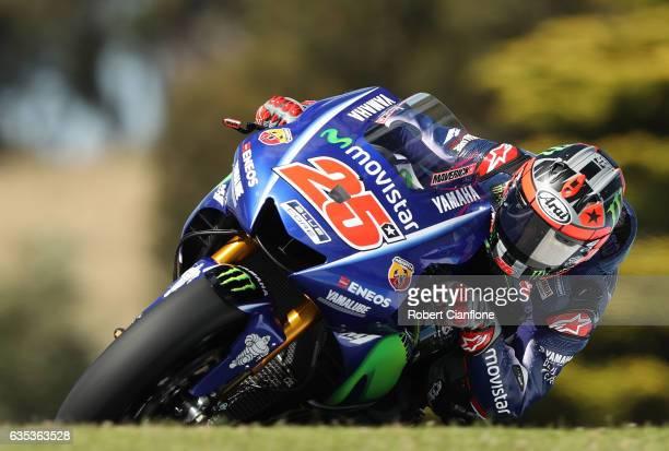 Maverick Vinales of Spain and the Movistar Yamaha MotoGP rides during 2017 MotoGP preseason testing at Phillip Island Grand Prix Circuit on February...