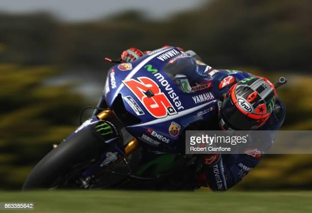 Maverick Vinales of Spain rides the MOVISTAR YAMAHA MotoGP Yamaha during free practice for the 2017 MotoGP of Australia at Phillip Island Grand Prix...