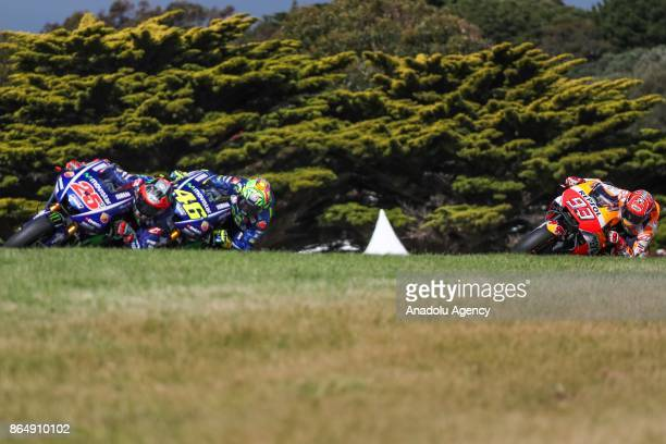 Maverick Vinales of Spain riding for Movistar Yamaha MotoGP ahead of Valentino Rossi of Italy riding for Movistar Yamaha MotoGP and Marc Marquez of...