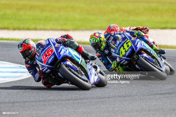 Maverick Vinales of Spain riding for Movistar Yamaha MotoGP and Valentino Rossi of Italy riding for Movistar Yamaha MotoGP are seen during the 2017...