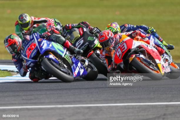 Maverick Vinales of Spain riding for Movistar Yamaha MotoGP Marc Marquez of Spain Repsol Honda Team and Johann Zarco of France riding for Monster...