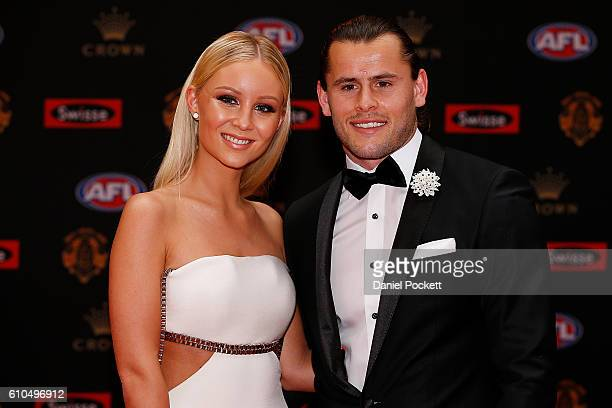 Maverick Weller of the Saints and Sammie Russell arrive ahead of the 2016 Brownlow Medal at Crown Entertainment Complex on September 26 2016 in...