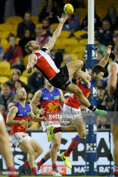 Maverick Weller of the Saints attempts to mark the ball during the round three AFL match between the St Kilda Saints and the Brisbane Lions at Etihad...