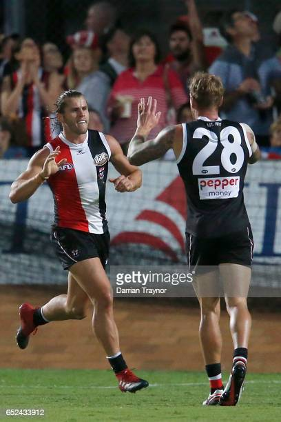 Maverick Weller of the Saints celebrates a goal during the JLT Community Series AFL match between the St Kilda Saints and the Sydney Swans at...