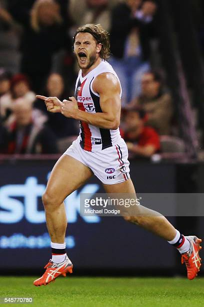 Maverick Weller of the Saints celebrates a goal during the round 16 AFL match between the Essendon Bombers and the St Kilda Saints at Etihad Stadium...