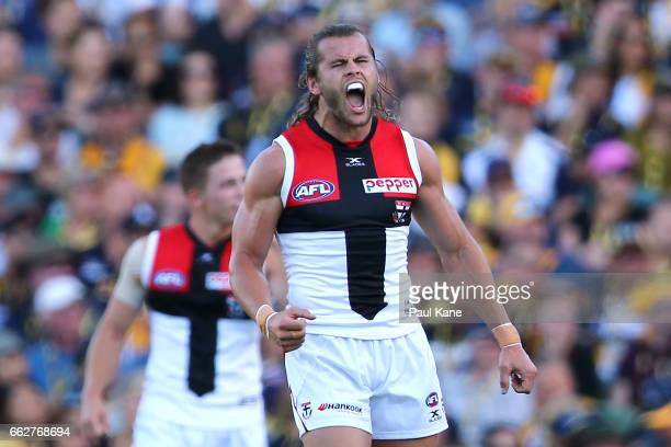 Maverick Weller of the Saints celebrates a goal during the round two AFL match between the West Coast Eagles and the St Kilda Saints at Domain...