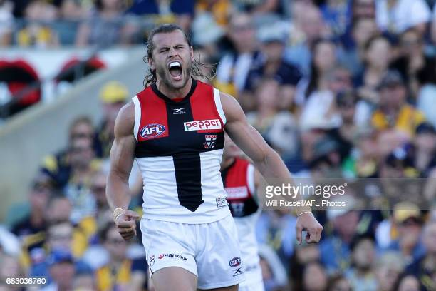 Maverick Weller of the Saints celebrates after scoring a goal during the round two AFL match between the West Coast Eagles and the St Kilda Saints at...