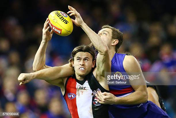 Maverick Weller of the Saints competes for the ball during the round 18 AFL match between the Western Bulldogs and the St Kilda Saints at Etihad...