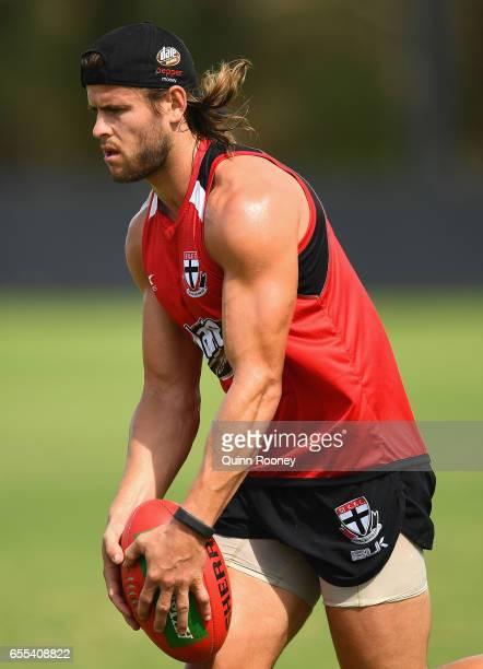 Maverick Weller of the Saints kicks during a St Kilda Saints AFL training session at Linen House Oval on March 20 2017 in Melbourne Australia