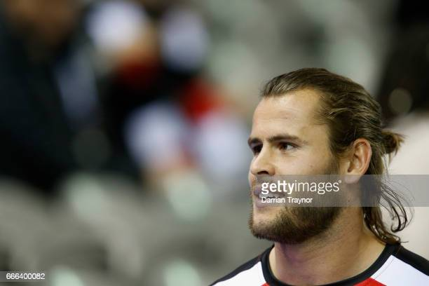 Maverick Weller of the Saints looks on before the round three AFL match between the St Kilda Saints and the Brisbane Lions at Etihad Stadium on April...