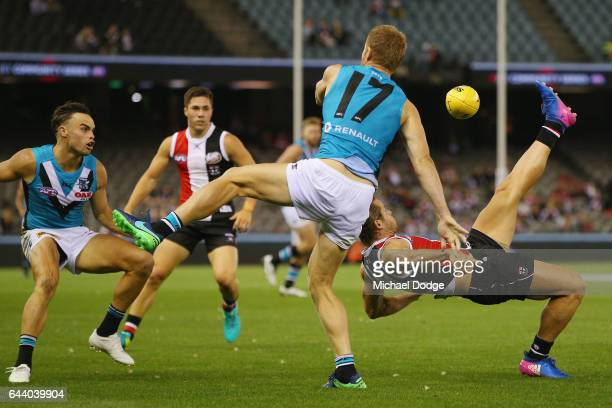 Maverick Weller of the Saints receives a free kick for this contest against Tom Clurey of the Power during the JLT Community Series AFL match between...