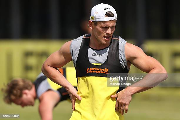 Maverick Weller takes a rest after sprinting half a lap during a StKilda Saints AFL training session at Linen House Oval on November 5 2014 in...