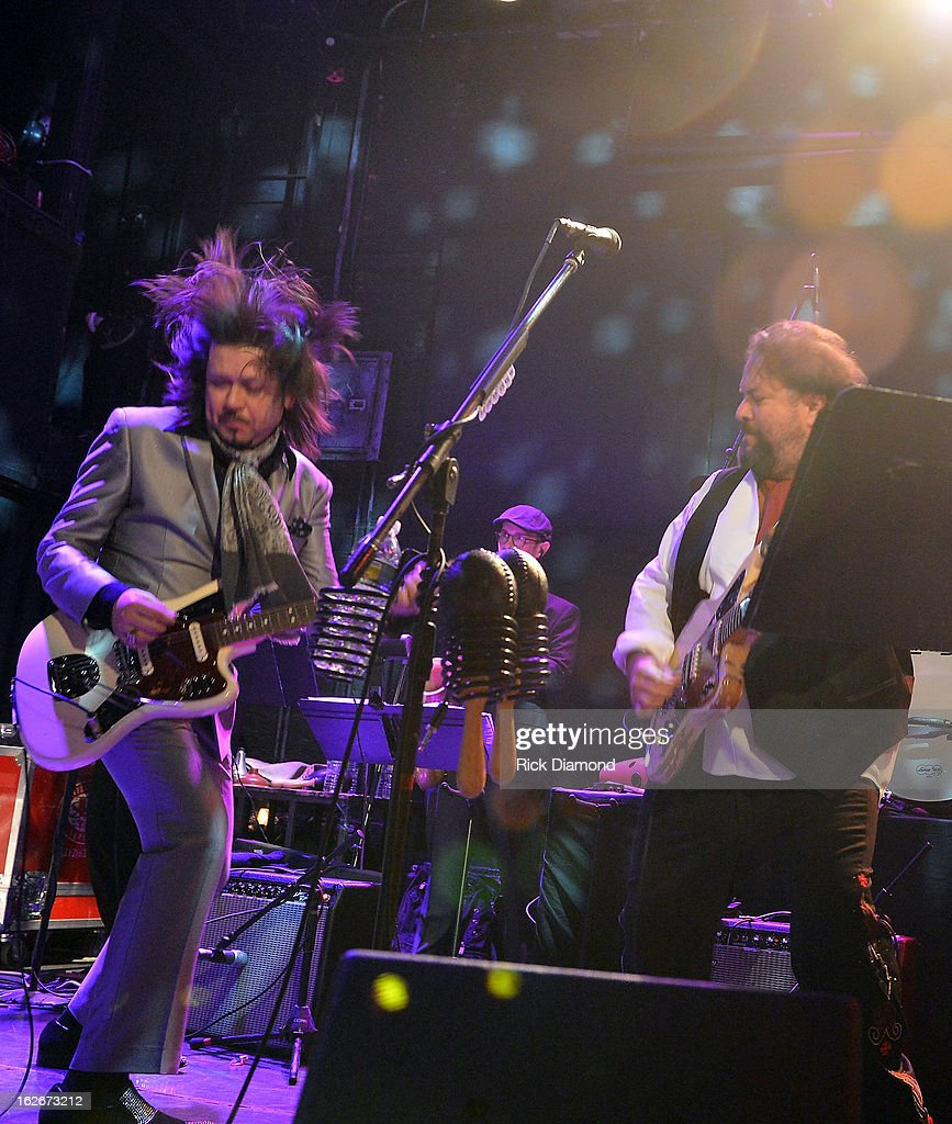 Mavericks members Eddie Perez and Raul Malo perform during The Mavericks Album release concert for there new album ' In Time' at The Bowery Ballroom on February 25, 2013 in New York City.