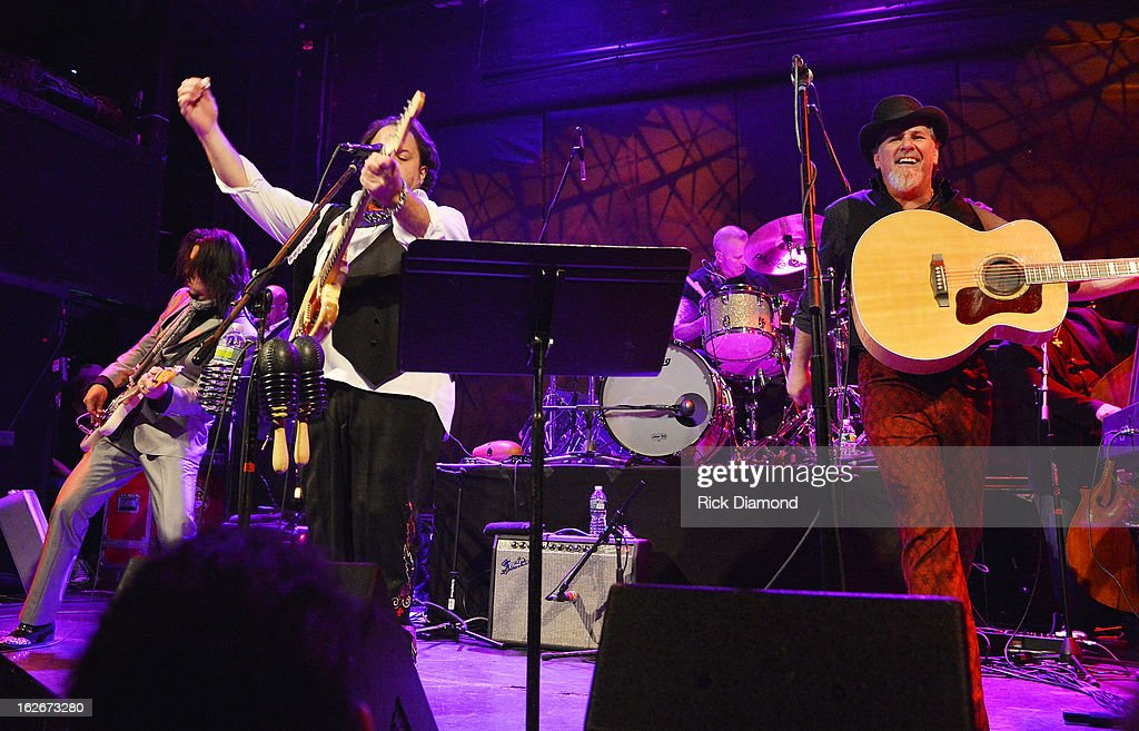 Mavericks members Eddie Perez, <a gi-track='captionPersonalityLinkClicked' href=/galleries/search?phrase=Raul+Malo&family=editorial&specificpeople=2159740 ng-click='$event.stopPropagation()'>Raul Malo</a>, Paul Deakin and Robert Reynolds perform during The Mavericks Album release concert for there new album ' In Time' at The Bowery Ballroom on February 25, 2013 in New York City.