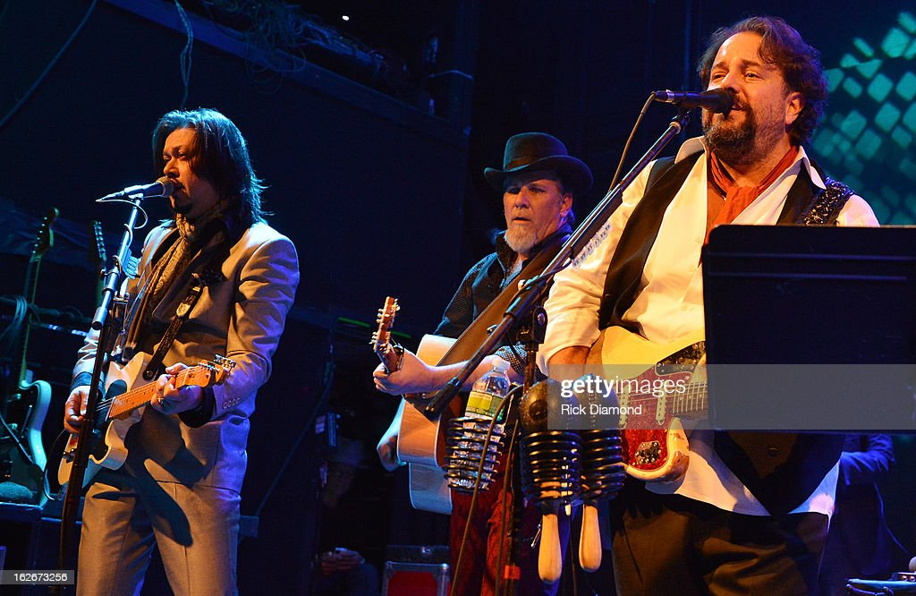 Mavericks members Eddie Perez, Robert Reynolds and Raul Malo perform during The Mavericks Album release concert for there new album ' In Time' at The Bowery Ballroom on February 25, 2013 in New York City.