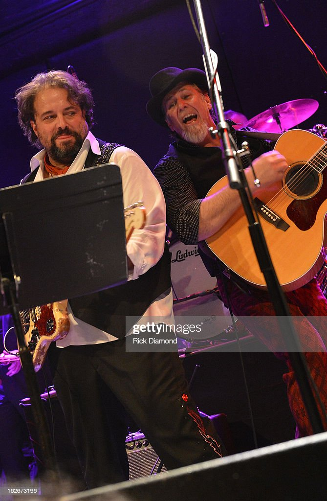 Mavericks members Raul Malo and Robert Reynolds perform during The Mavericks Album release concert for there new album ' In Time' at The Bowery Ballroom on February 25, 2013 in New York City.