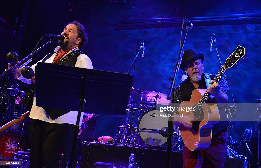 Mavericks members <a gi-track='captionPersonalityLinkClicked' href=/galleries/search?phrase=Raul+Malo&family=editorial&specificpeople=2159740 ng-click='$event.stopPropagation()'>Raul Malo</a> and Robert Reynolds perform during The Mavericks Album release concert for there new album ' In Time' at The Bowery Ballroom on February 25, 2013 in New York City.