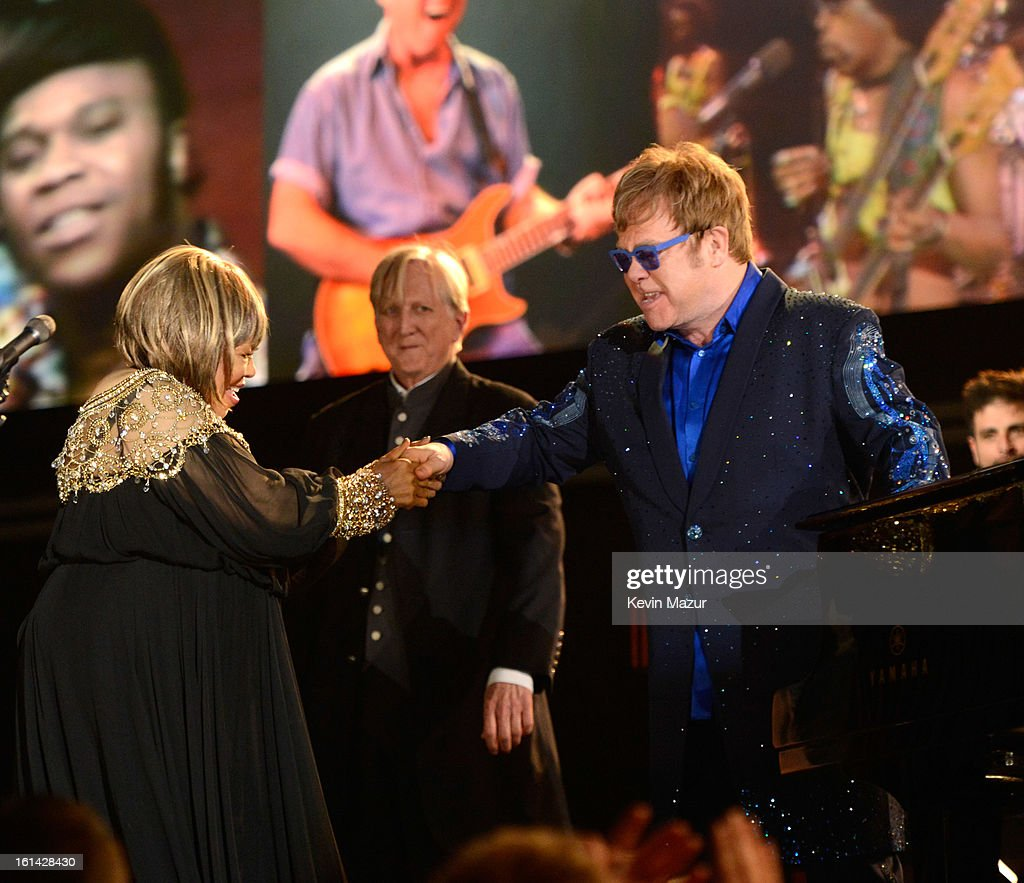 Mavis Staples and Elton John perform onstage during the 55th Annual GRAMMY Awards at STAPLES Center on February 10, 2013 in Los Angeles, California.