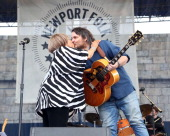 Mavis Staples and Jeff Tweedy perform during the 2014 Newport Folk Festival at Fort Adams State Park on July 27 2014 in Newport Rhode Island