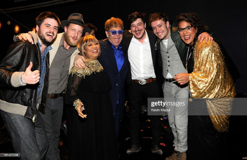 Mavis Staples, <a gi-track='captionPersonalityLinkClicked' href=/galleries/search?phrase=Elton+John&family=editorial&specificpeople=171369 ng-click='$event.stopPropagation()'>Elton John</a>, Marcus Mumford and Brittany Howard attend the 55th Annual GRAMMY Awards at STAPLES Center on February 10, 2013 in Los Angeles, California.