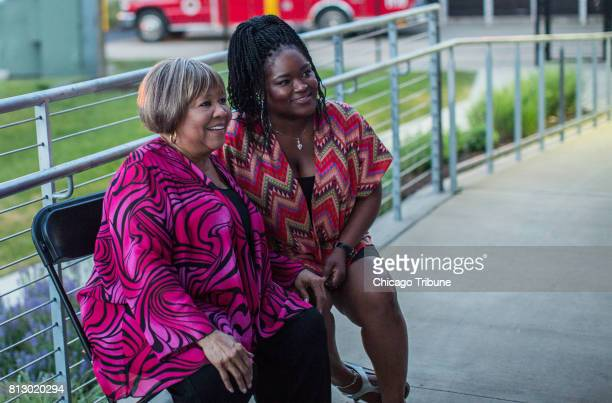 Mavis Staples left rhythm and blues and gospel singer visits with Chicago blues singer Shemekia Copeland before performance at Blues on the Fox...