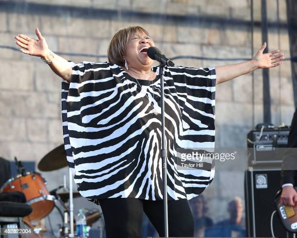 Mavis Staples performs during the 2014 Newport Folk Festival at Fort Adams State Park on July 27 2014 in Newport Rhode Island