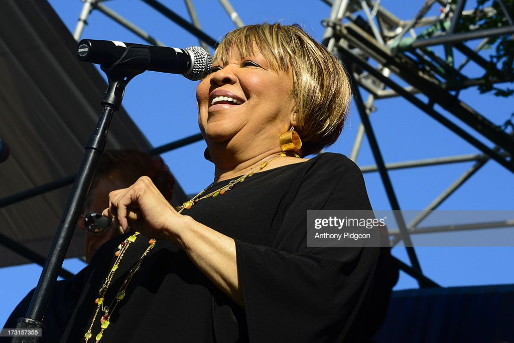<a gi-track='captionPersonalityLinkClicked' href=/galleries/search?phrase=Mavis+Staples&family=editorial&specificpeople=1145062 ng-click='$event.stopPropagation()'>Mavis Staples</a> performs on stage on Day 4 of Waterfront Blues Festival at Tom McCall Waterfront Park on July 7, 2013 in Portland, Oregon.