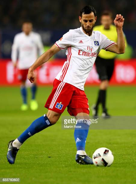 Mavraj Mergim of Hamburg runs with the ball during the Bundesliga match between Hamburger SV and Bayer 04 Leverkusen at Volksparkstadion on February...